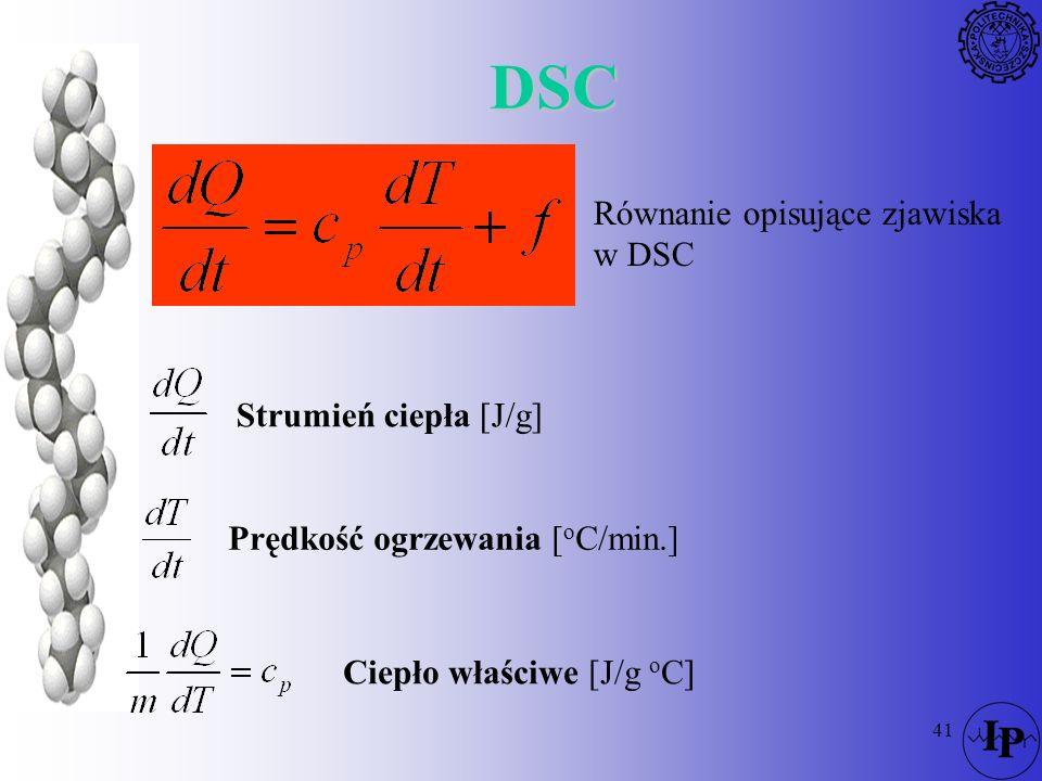DSC Równanie opisujące zjawiska w DSC Strumień ciepła [J/g]